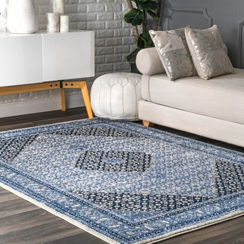 nuLOOM Blue Transitional Tribal Ornamental Blooming Dream Border Area Rug