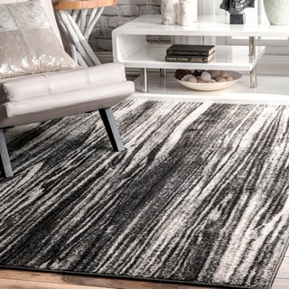 "nuLOOM Black & White Transitional Modern Artsy Dripping Rain Area Rug - 6' 7"" x 9'"