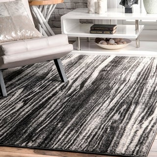 Link to nuLOOM Black and White Transitional Modern Artsy Dripping Rain Area Rug Similar Items in Transitional Rugs