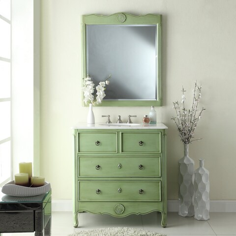 "34"" Benton Collection Daleville Distressed Green Bath Vanity & Mirror"