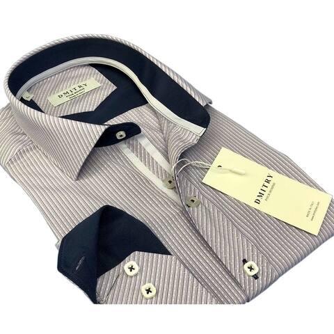 DMITRY Men's Slim Lavender/Grey Textured Italian Cotton Long Sleeve Dress Shirt