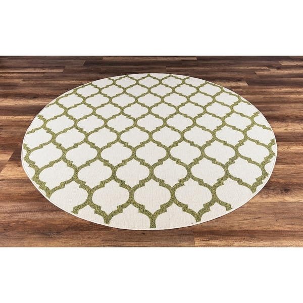 Gad Anne High Quality Indoor Outdoor Area Rug With Trellis Pattern Beige Green 6 7 On Free Shipping Today 22986658
