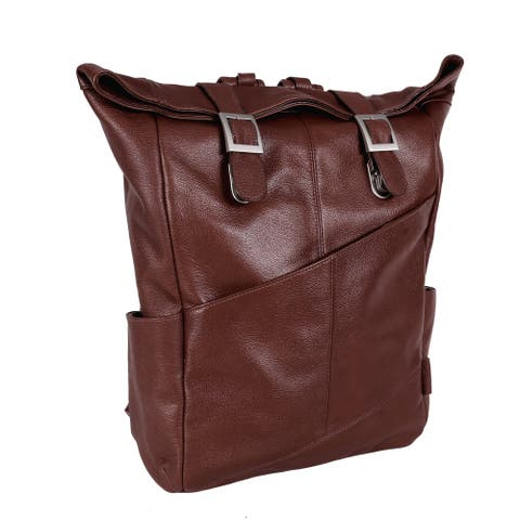 """McKleinUSA Kennedy 17"""" Leather Dual Access Laptop Backpack"""