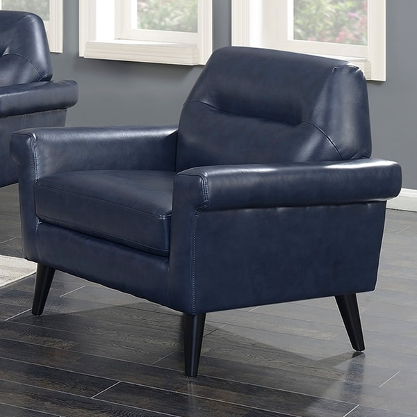 Shop Camden Mid Century Blue Faux Leather Upholstered
