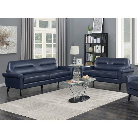 Camden 2-Piece Mid Century Blue Faux Leather Upholstered Living Room Sofa Set