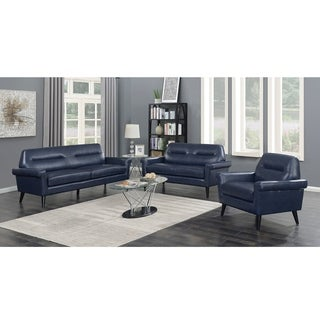 Camden 3-Piece Mid Century Blue Faux Leather Upholstered Living Room Sofa Set