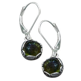 Recycled Early 1900's Olive Green Wine Bottle Sterling Silver Botanical Lever Back Earrings