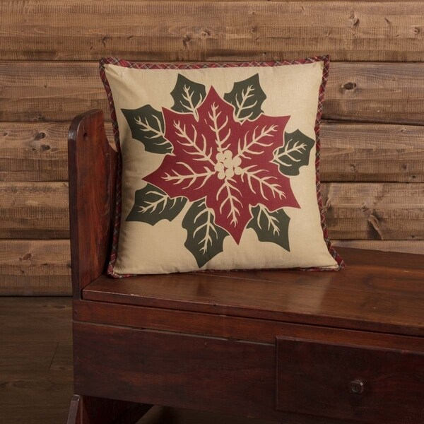 Tan Rustic Bedding VHC National Quilt Museum Poinsettia Block 18x18 Pillow Cotton Floral - Flower Stenciled