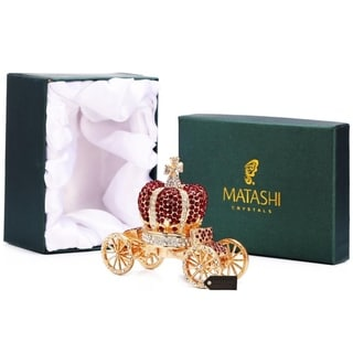 Hand Painted Royal Crown Carriage Ornament Trinket Box with High Quality Red Crystals by Matashi Choose Red or Purple Crystal