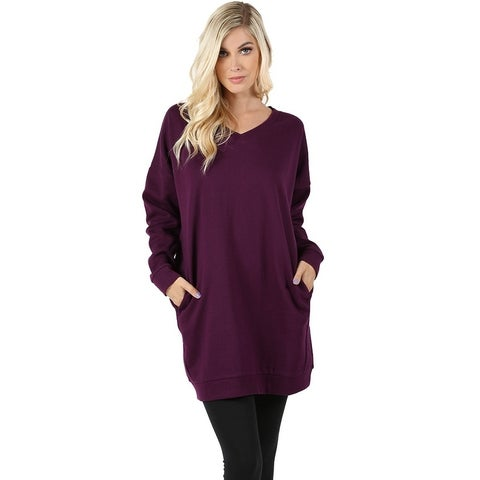 JED Women's Loose Fit V-Neck Tunic Sweatshirt with Pockets