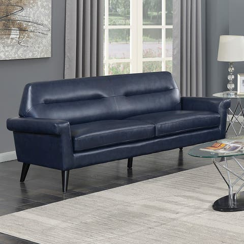 Camden Mid Century Blue Faux Leather Upholstered Stationary Sofa