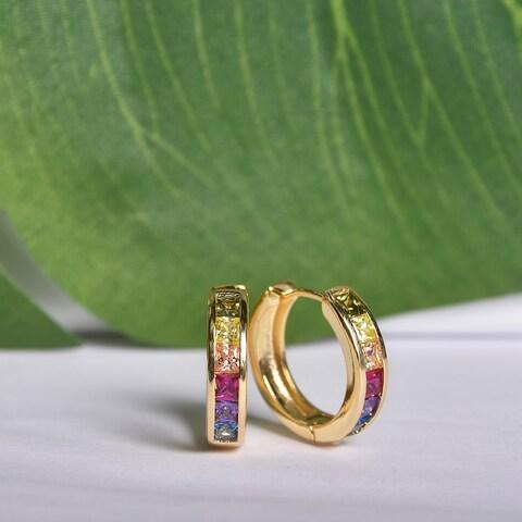 Glittering Gold Plated Rainbow Cubic Zirconia Hoop Earrings