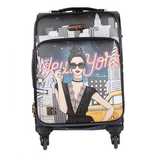 Nicole Lee Cleo 20-inch Expandable Carry On Spinner 17-inch Laptop Suitcase