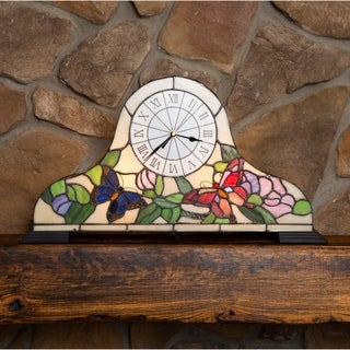 River of Goods Stained Glass Butterfly Clock Accent Lamp