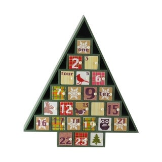 """14"""" Rustic Green and Red Plaid Decorative Tree Shaped Advent Christmas Calendar"""