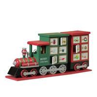 "16.5"" Red and Green Decorative Elegant Advent Calendar Locomotive"
