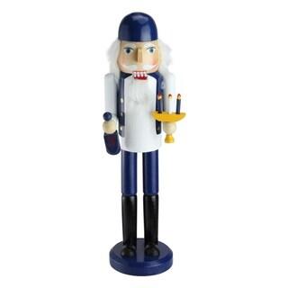 "14"" Decorative Blue and White Wooden Hanukkah Nutcracker with Menorah and Dreidel"