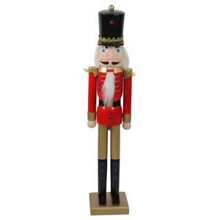 "36"" Decorative Red and Gold Wooden Christmas Nutcracker Soldier with Sword"