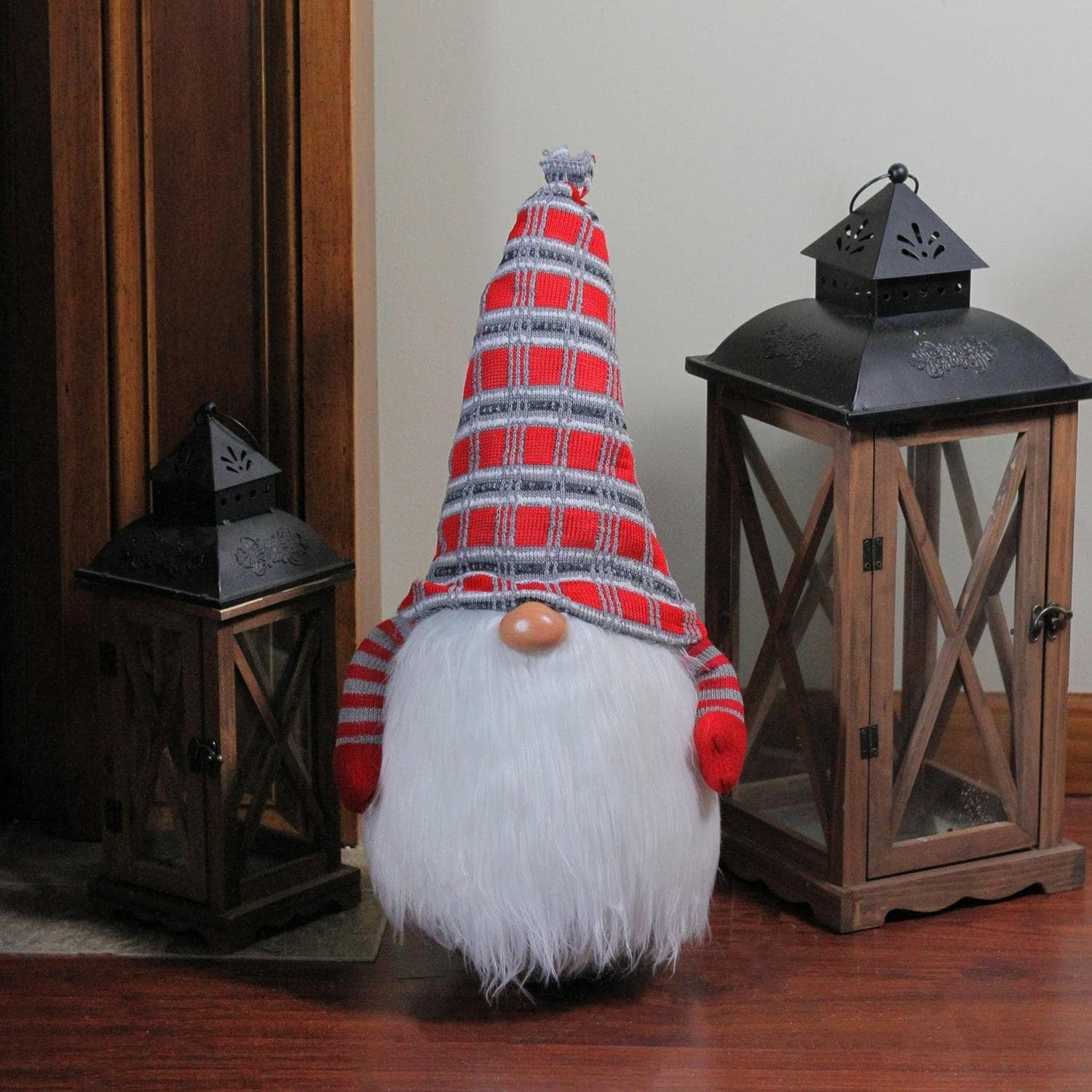 24 Traditional Christmas Tumbling Santa Gnome With White Beard And Red Plaid Hat Overstock 22987018