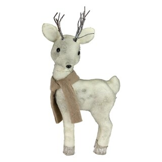 "16"" Winter's Beauty Standing Reindeer in a Scarf Christmas Figure Decoration"