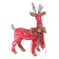 "24"" Country Rustic Red  White and Brown Reindeer with Bow Christmas Decoration"