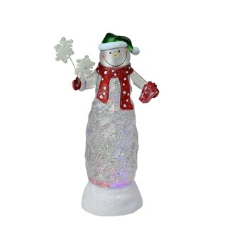 "11Â"" Swirling Glitter LED Lighted Snowman with Gifts Table Top Christmas Decoration"