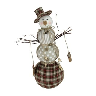 """15.75"""" Nature's Luxury Brown and White Patterned Snowman Christmas Decoration"""