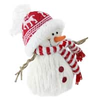 """9"""" Red and White Fuzzy Smiling Snowman Christmas Figure Decoration with Red Hat and Scarf"""