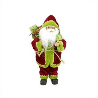 "12"" Red Green and Gold Standing Santa Claus Christmas Figure with Gift Bag"