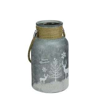 """10"""" Silver White Iced Winter Scene Decorative Christmas Pillar Candle Holder Lantern with Handle"""