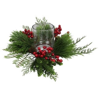 """15"""" Traditional Artificial Pine and Red Berry Decorative Wreath Pillar Candle Holder"""