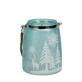 "6.5"" Blue Iced White Winter Scene Decorative Christmas Pillar Candle Holder Lantern with Handle"