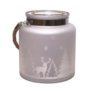 "8"" Matte Silver Winter Scene Decorative Christmas Pillar Candle Holder Lantern with Handle"