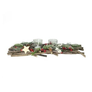 """18"""" Bundle of Twigs with Berries and Stars Christmas Votive Candle Holder Centerpiece"""