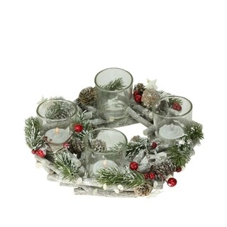 """9"""" Bundle of Twigs Wreath with Berries and Stars Votive Candle Holder Centerpiece"""