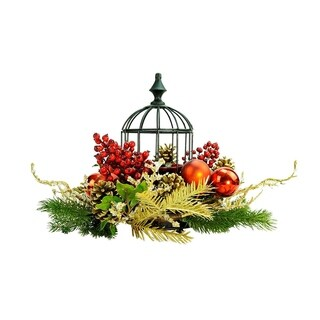 "13"" Berry & Pine Cone Red Hurricane Glass in Birdcage Christmas Pillar Candle Holder"