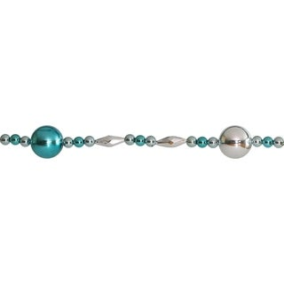 8' Decorative Shatterproof Shiny Teal and Silver Beaded Christmas Ball Garland