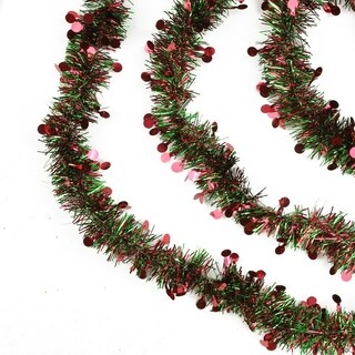 50' Red and Green Christmas Tinsel Garland with Red Polka Dots - Unlit - 6 Ply (Pack of 3)