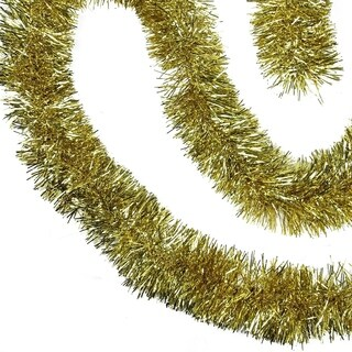 50' Traditional Shiny Gold Christmas Foil Tinsel Garland - Unlit - 3 Ply
