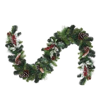 6' Pre-Decorated Frosted Pine Cone and Red Berry Artificial Christmas Garland - Unlit