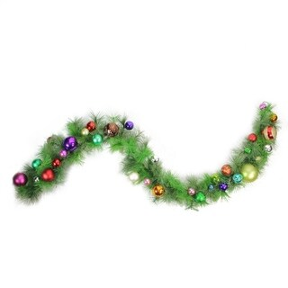 6' Pre-Decorated Multi-Color Ball Ornament Long Needle Pine Artificial Christmas Garland - Unlit
