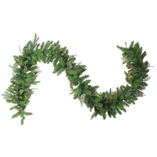 """9' x 12"""" Pre-Lit Mixed Winter Foliage Artificial Christmas Garland - Clear Lights"""