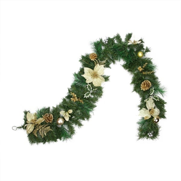 6 Pre Decorated Gold Poinsettia Pine Cone And Ball Artificial Christmas Garland Unlit