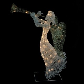 "48"" Lighted Glittered Trumpeting Angel Christmas Yard Art Decoration"