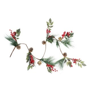 "54"" Snow Dusted Pine Cones Berries and Long Pine Needles Artificial Christmas Garland - Unlit"