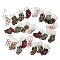 8' Holiday Moments Red  Green and White Christmas Stocking Garland - Unlit