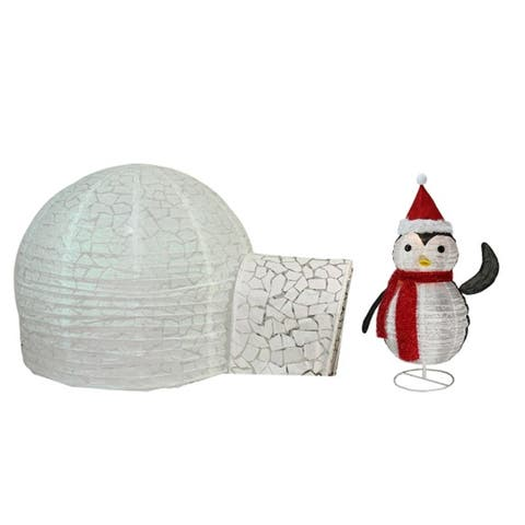 f955a3ff37f4b Set of 2 Pre-Lit Penguin and Igloo Outdoor Christmas Yard Art Decoration 45