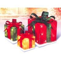 Set of 3 Lighted Glistening Gift Box Christmas Yard Art Decoration