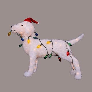 "28.5"" 3D Standing Decorative Dog Lighted Christmas Yard Art Decoration"