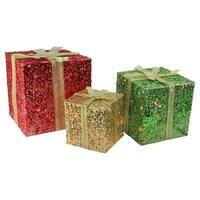 3-Piece Glittering Gift Box Lighted Christmas Yard Art Decoration Set